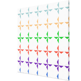 fun multicolor diamand shapes pattern on white gallery wrapped canvas