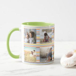 Fun multicolored stripes and custom photo mug
