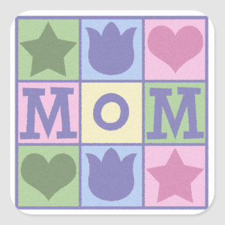 Fun Mum Quilt Squares Mother's Day Square Sticker