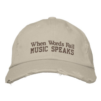 Fun Music Quote Distressed Hat Embroidered Baseball Cap