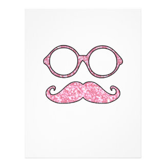 FUN MUSTACHE AND GLASSES, PRINTED PINK GLITTER CUSTOM FLYER