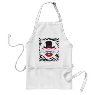 Fun Mustache and Lips with Top Hat on Zebra Print Aprons