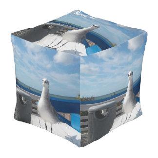 Fun Naples, FL Seagull Print Cube Shape Pouf