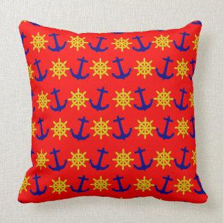 Fun Nautical Anchor and Wheel Pattern Throw Pillow