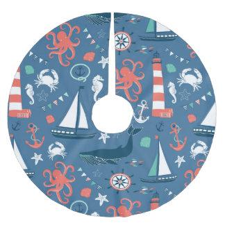 Fun Nautical Graphic Pattern Brushed Polyester Tree Skirt