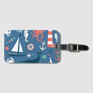 Fun Nautical Graphic Pattern Luggage Tag