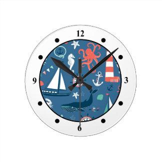 Fun Nautical Graphic Pattern Round Clock