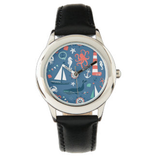 Fun Nautical Graphic Pattern Wristwatches