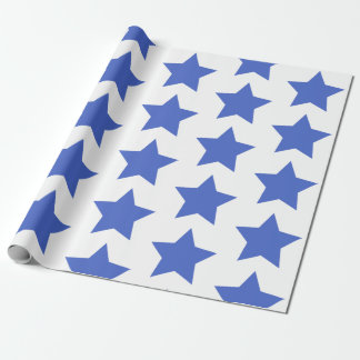 Fun Navy Blue Stars Pattern Wrapping Paper