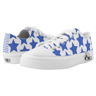 Fun Navy Blue Stars Pattern Zipz Shoes