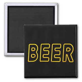 Fun Neon Beer Sign Square Magnet