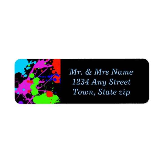 Fun, Neon Paint Splatter, Custom Return Address Label