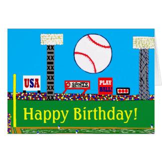 Fun New Baseball Happy Birthday Card or Invitation