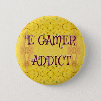 Fun Novel Yellow 'E Gamer Addict 6 Cm Round Badge