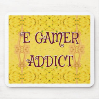 Fun Novel Yellow 'E Gamer Addict Mouse Pad