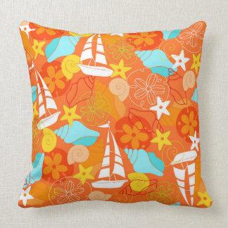 Fun orange beach pattern throw pillow