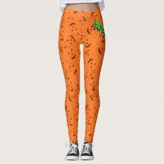 Fun Orange Halloween Jack-O-Lantern Pattern Leggings