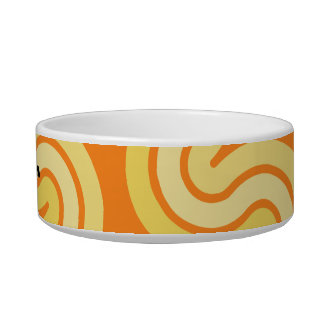 Fun Orange Kitty Cat Personalized Pet Bowls