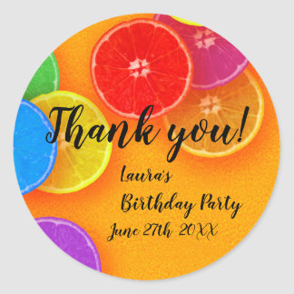 Fun orange slices Thank you Birthday Party Classic Round Sticker