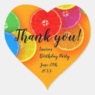 Fun orange slices Thank you Birthday Party Heart Sticker