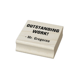 """Fun """"OUTSTANDING WORK!"""" Commendation Rubber Stamp"""