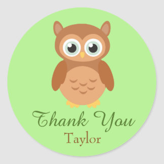 Fun Owl Customize Thank You Classic Round Sticker