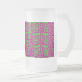 Fun Owls Patchwork Quilt Squares Purple Lime Green Frosted Glass Beer Mug