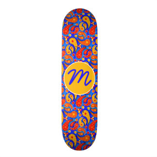 Fun Paisley Orange Red Yellow on Bright Royal Blue Skate Board Decks