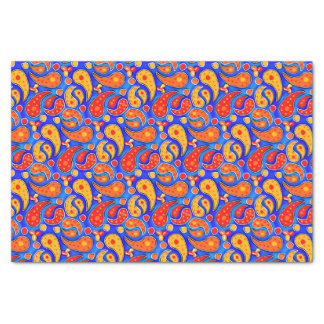 Fun Paisley Orange Red Yellow on Bright Royal Blue Tissue Paper