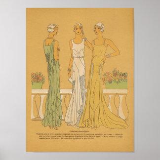Fun Paris France Retro Fashion Sketches #5 Poster