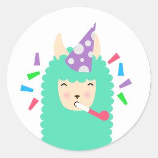 Fun Party Emoji Llama Classic Round Sticker