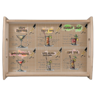 Fun Party Entertaining Beige Holiday Drinks Bar Serving Tray