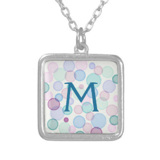 Fun Pastel Watercolor Paint Bubbles Pattern Silver Plated Necklace
