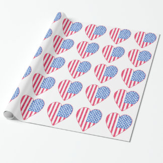 Fun Patriotic Hearts Wrapping Paper