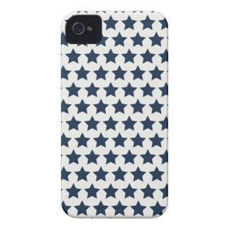 Fun Patriotic Navy Blue Stars 4th of July Pattern iPhone 4 Cases