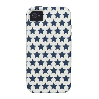 Fun Patriotic Navy Blue Stars 4th of July Pattern Case For The iPhone 4