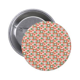 Fun Peach and Green Polka Dot Bubbles Pattern Pinback Button