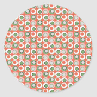 Fun Peach and Green Polka Dot Bubbles Pattern Round Sticker