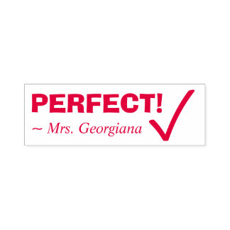 "Fun ""PERFECT!"" Commendation Rubber Stamp"
