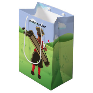 Fun Personalized Golfer on golf course Medium Gift Bag