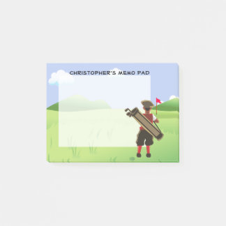 Fun Personalized Golfer on golf course Post-it Notes