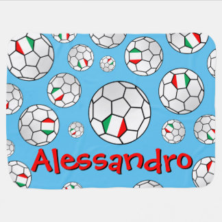 Fun Personalized Random Pattern Italy Soccer Ball Pram blankets