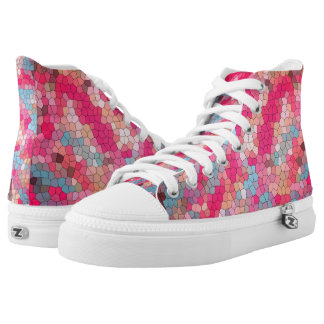 Fun Pink and Blue Stained Glass All Over Pattern High Tops