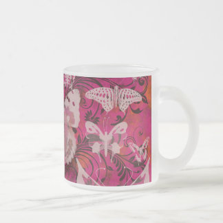 Fun Pink and Orange Butterfly Pattern Frosted Glass Mug