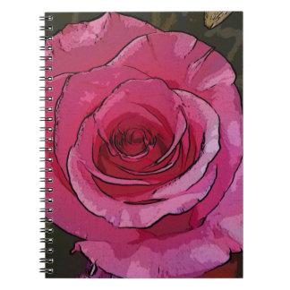 Fun Pink Artistic Chic Rose Petals Spiral Note Books