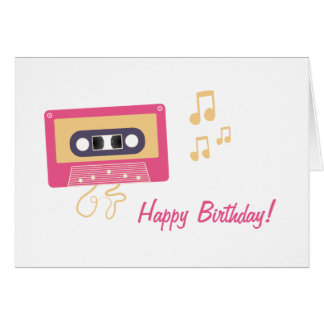 Fun Pink Cassette Tape Birthday Greeting Card