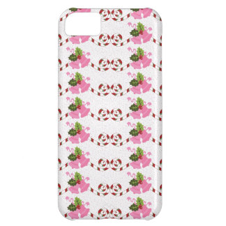 Fun Pink Christmas Bells and Candy Cane Scroll iPhone 5C Cover