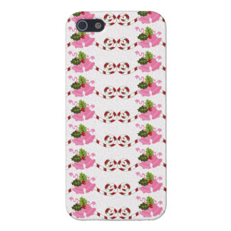 Fun Pink Christmas Bells and Candy Cane Scroll Case For iPhone 5