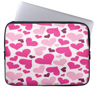 Fun Pink Hearts Pattern Laptop Sleeve