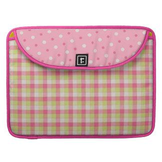 Fun Pink Plaid Polka Dots Macbook Pro Sleeve